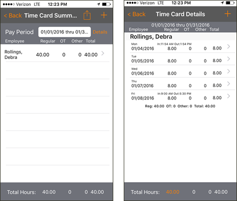 View employee time cards in the app