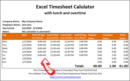 Free Excel Timesheet Calculator With Lunch And Overtime • Ontheclock