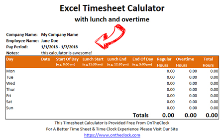 Free Excel Time Card Calculator With Lunch And Overtime • OnTheClock