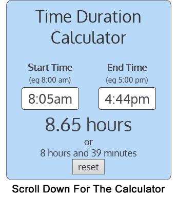 calculate duration between 2 times easy free