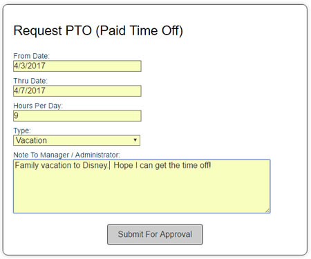 PTO employee request form